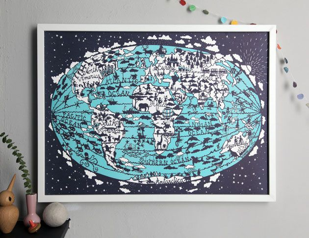 Hand screen printed World Map by Famille Summerbelle