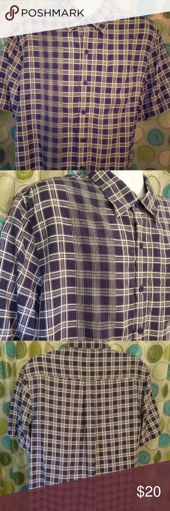 "NAT NAST Silk blend camp shirt plaid large Luxury brand  CHARLES TYRWHITT  Jermyn Street London  In excellent condition  French cuff  Two toned blue plaid  16 1/2  36"" sleeve Nat Nast Shirts Casual Button Down Shirts"