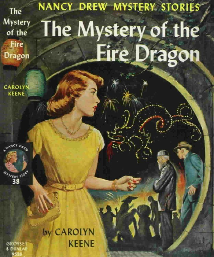 #38 The Mystery of the Fire Dragon, 1961: It was a huge fire dragon! 'It is magnificent, but frightening!' the girl detective thought. Nancy glanced about to see Bess's and Ned's reactions. She could not discern her friends in the crowds ahead of her. But her gaze fastened on something else that almost made her heart stop beating.