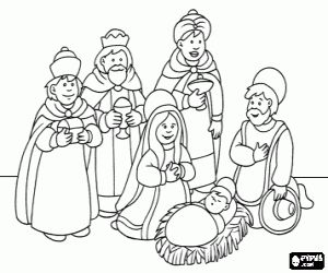 Adoration of the Magi coloring page
