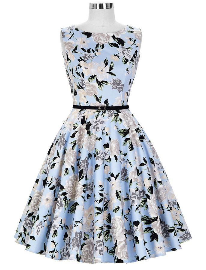 50s Retro Style Sweet Floral Audrey Hepburn Inspired Swing Dress