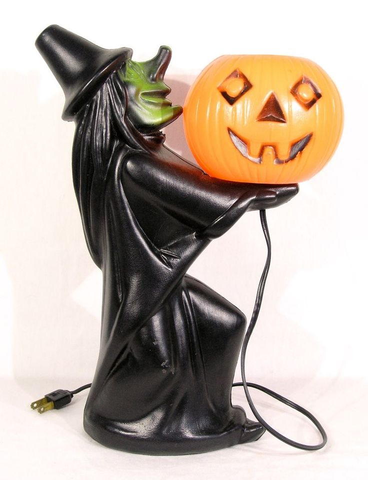 Vintage Witch & Jack-O-Lantern Pumpkin Light USA Tico Toys Halloween Blow Mold