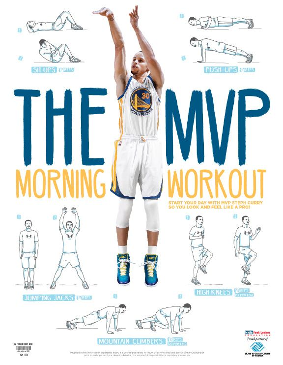 Exercise Illustrations for Foot Locker. Stephen Curry Workout Poster for Boys and Girls Club.