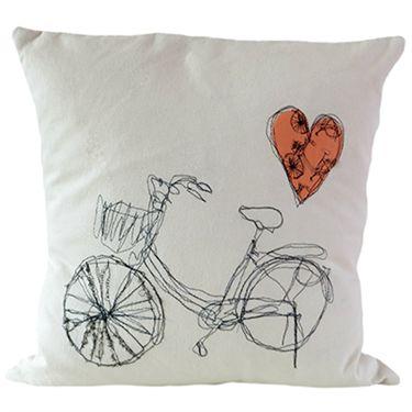 Hand embroidered bike cushion