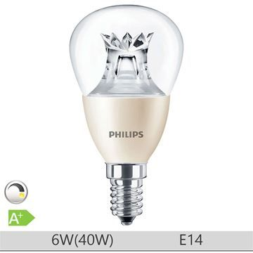 Bec LED Philips 6W E14, forma clasica P48, lumina calda