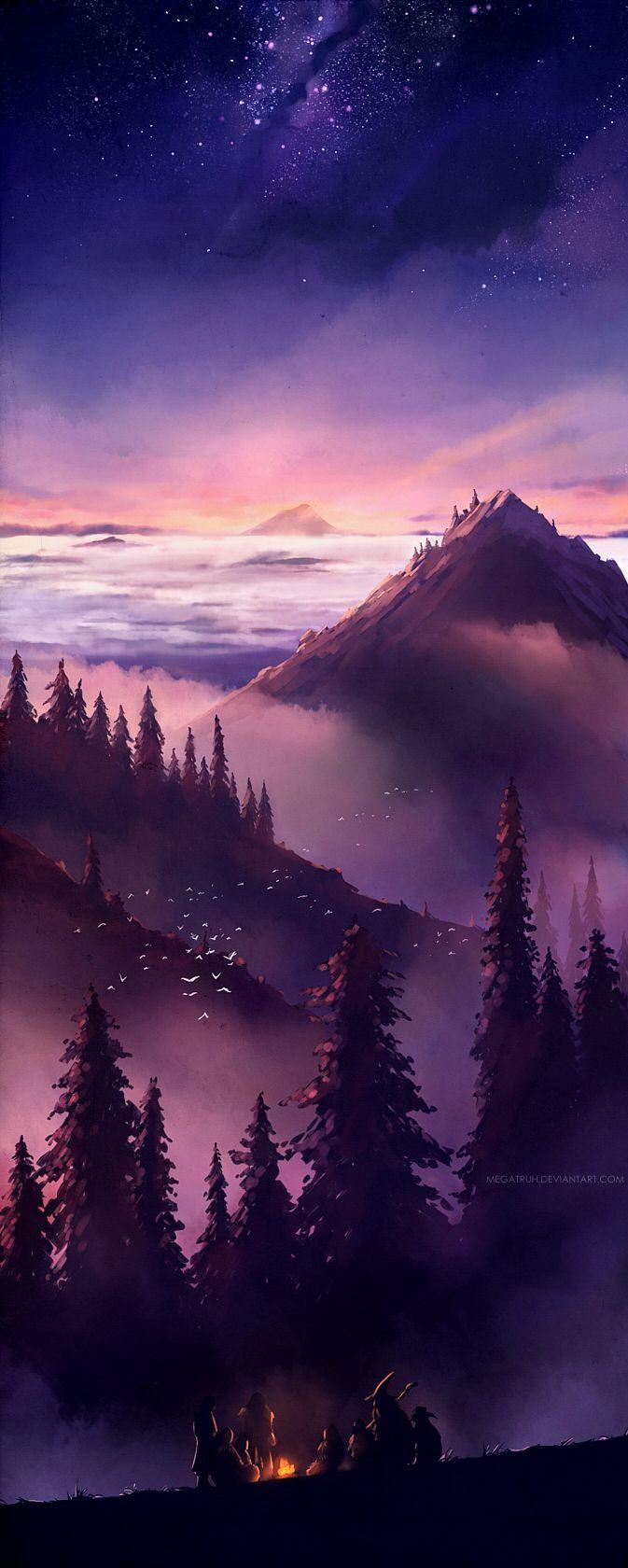 """Gandalf e os anões reunidos em volta da fogueira. Arte muito bacana nomeada """"The World is Ahead"""" by megatruh"""