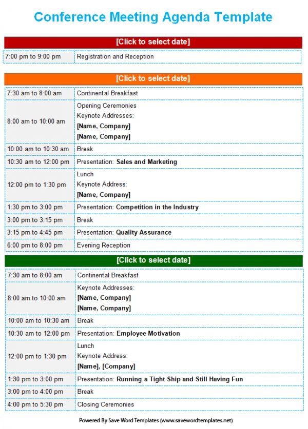 Meeting agenda template Business Templates Pinterest Template - conference agenda template