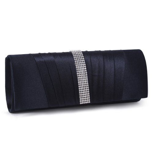 New Trending Clutch Bags: Damara Womens Pleated Satin Crystal Fashion Clutch Evening Bag, Navy Blue. Damara Womens Pleated Satin Crystal Fashion Clutch Evening Bag, Navy Blue   Special Offer: $15.99      233 Reviews This pleated satin flap clutch features a sleek design and flapover construction with pleated detail.It has a secure magnetic snap closure, and it opens to reveal a slim, lined...