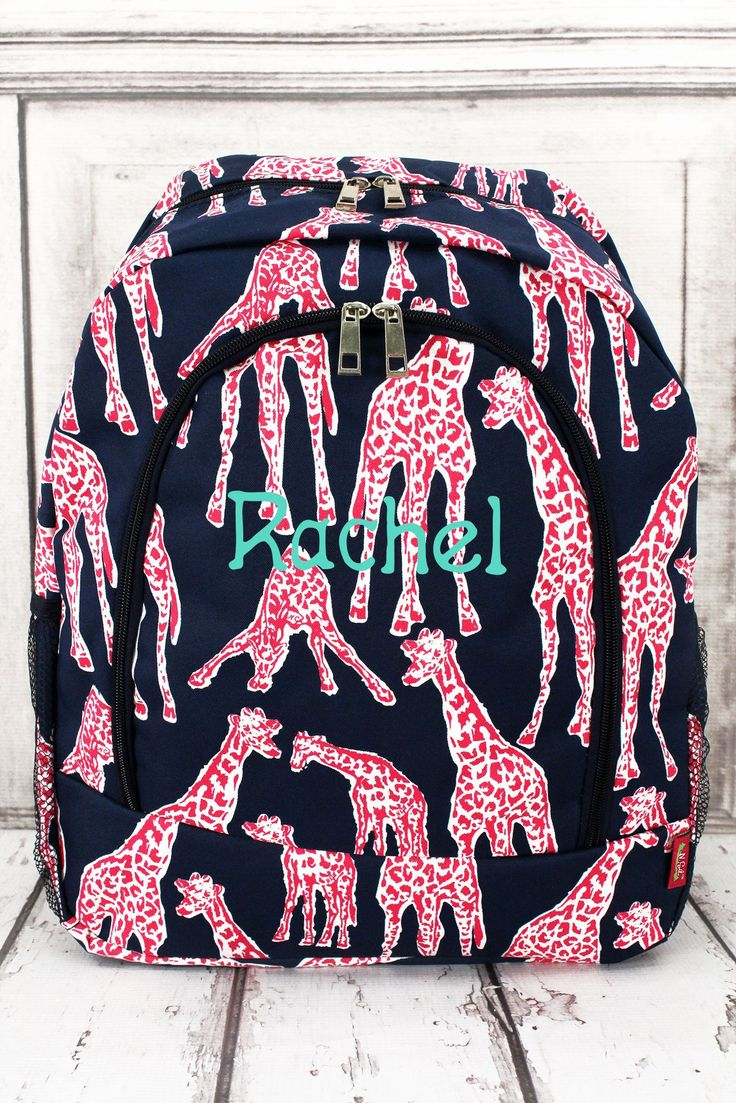 Gazing Giraffes Large Backpack in Navy or Pink Trim/ Full Size Backpack, Backpack for Teens, Backpacks for College, Backpacks for School