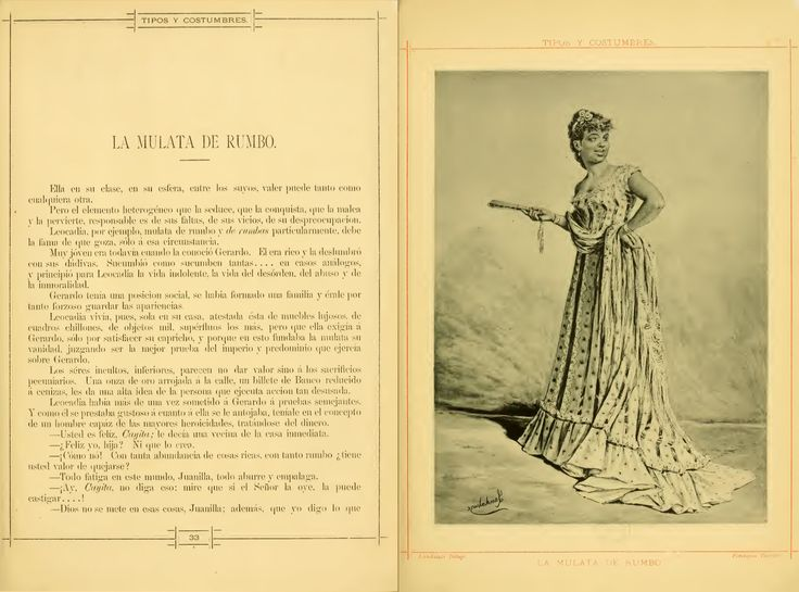 """A description of the typical Cuban """"mulata"""", including a fan.From """"tipos y costumbres de la isla de Cuba"""" from 1881, see the complete book in the Open Library"""