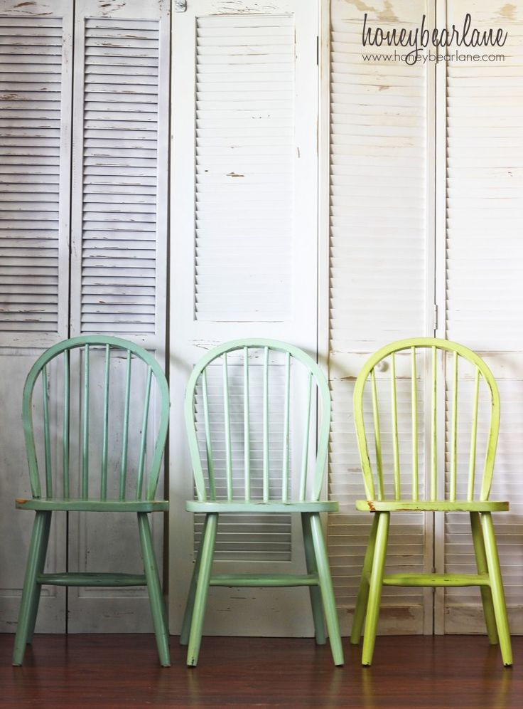 Painted Chairs | Colours shown L to R turquoise Martha Stewart Yucca Plant, aqua Martha Stewart Sea Glass, lime green Glidden Granny Smith