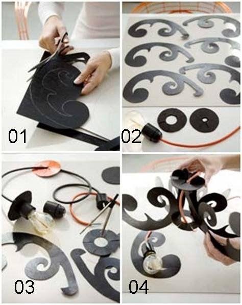 1- Risque o modelo desejado no papel cartão. Para este modelo é necessário cortar peças iguais (braços de fora).  2- Desenhe dois círculos ...