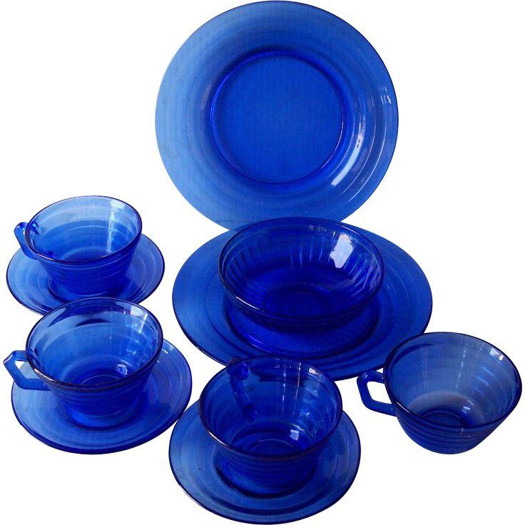1930-1940's Vintage DEPRESSION Glass Cobalt Blue MODERNTONE Pattern Plates, Cups, Saucers, Bowl 10 Pieces Mint Condition!