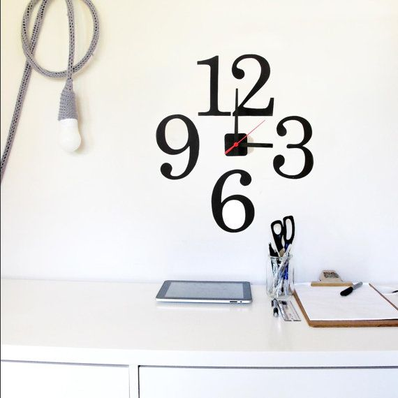 Restickable wall clock 'oversize typographic numbers'  $65.00 (from our etsy store)