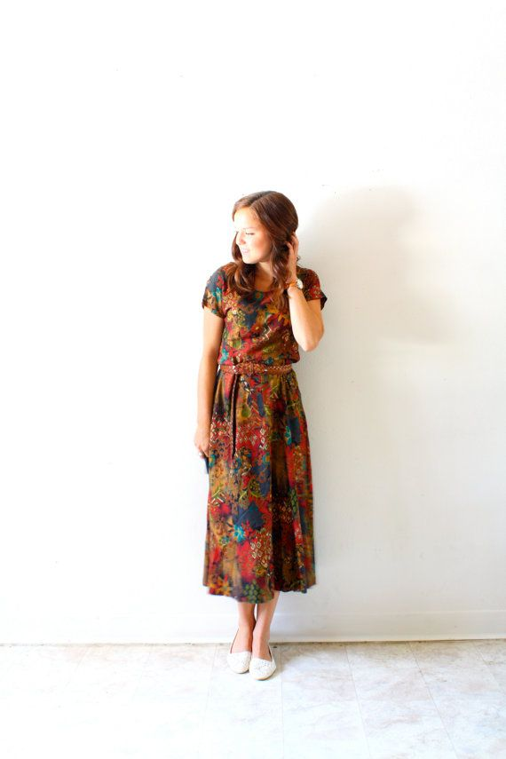 Vintage boho modest floral brown maxi dress by BeigeVintageCo