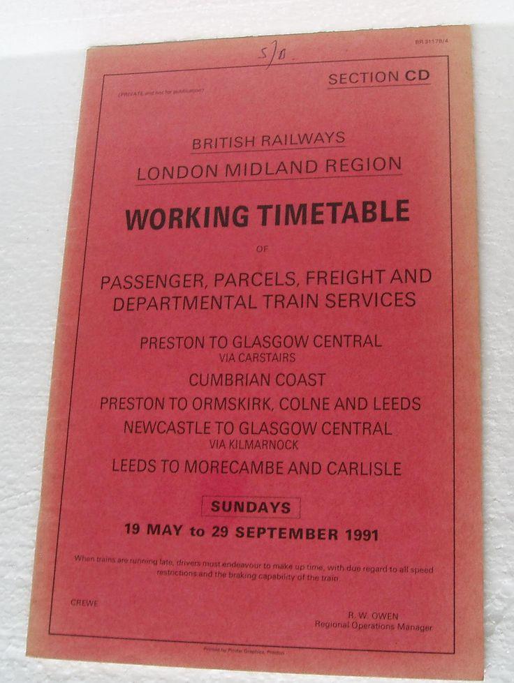 Vintage Railway Working Timetable Passengers ,Parcels,Freight Train Service L.M.R  British Rail 1991 section CD Sundays by LakeDistrictEphemera on Etsy