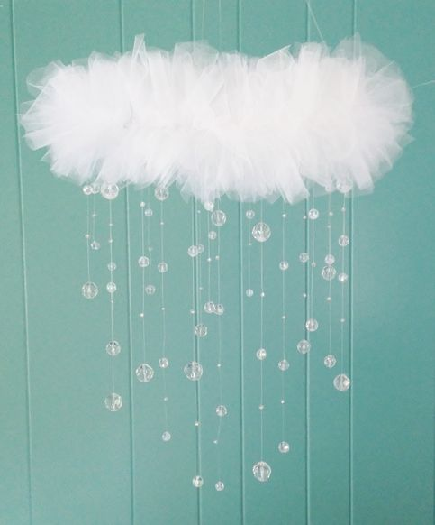 This beautiful pure white almost rain cloud like mobile is sure to bring any room a delicate touch of elegance and inspiration to each admirer. The mobile design is versatile enough to suit infant to adult. The mobile will be lovely to adorn over any dresser, above the bed, changing station, dini...