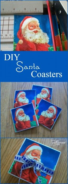 Oh my gosh.  How cute are these Santa coasters made out of napkins and cheap tiles using white glue for decoupaging. This would make a great neighbor or teacher gift.