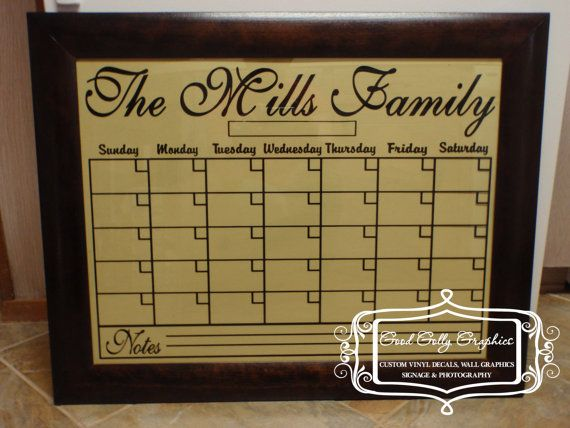 Dry erase calendar grid vinyl decal to fit a by GoodGollyGraphics