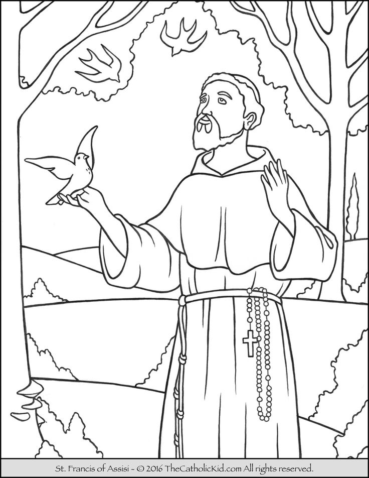 Saint Francis Coloring Page - The Catholic Kid - Catholic Coloring Pages and Games for Children