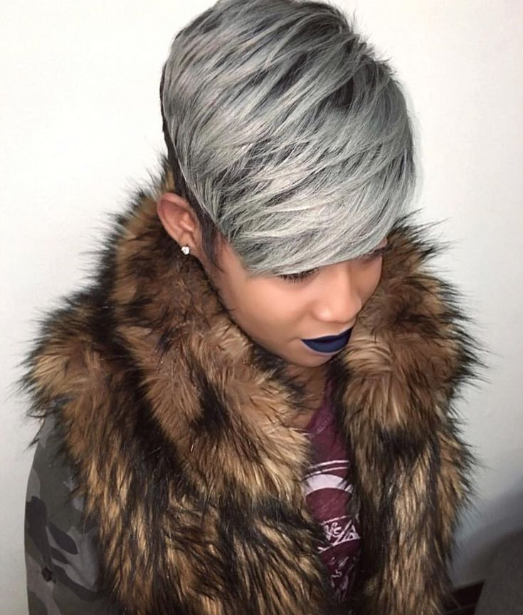 Fierce gray pixie via @hairbylatise - https://blackhairinformation.com/hairstyle-gallery/fierce-gray-pixie-via-hairbylatise/
