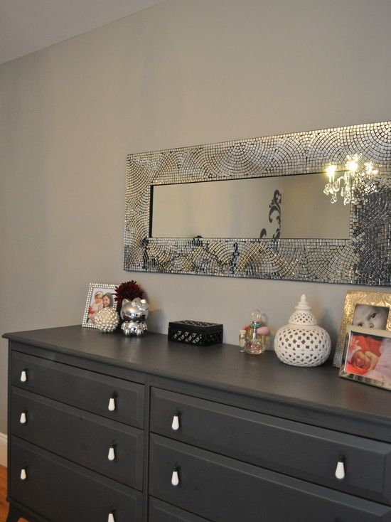 Cozy Small Dresser With Mirror : Cozy Black Dresser And Mosaic Silver Mirror  Above Dresser At
