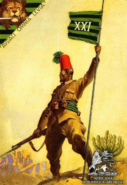 Italian Fascist black troops postcard