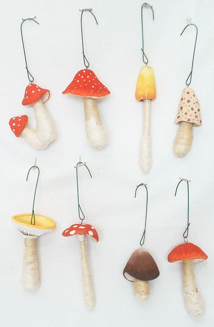 Vintage by Crystal spun cotton mushrooms