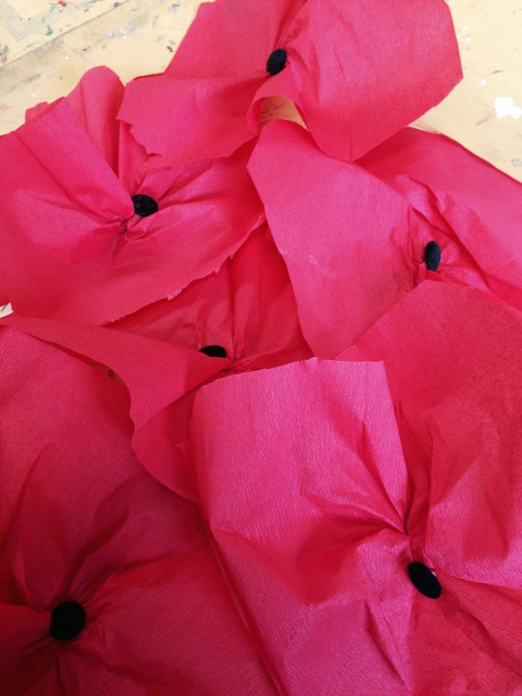 Prep Anzac Day Poppies, crepe paper and buttons