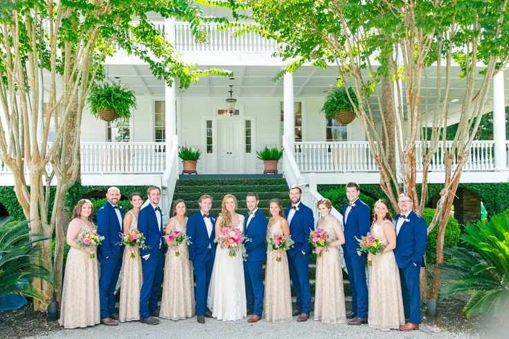 Light Gold/Champagne Bridesmaid Dresses and Navy Blue Tuxes with Cowboy Boots | Colorful Old Wide Awake Plantation Wedding by Charleston wedding photographer Dana Cubbage Weddings