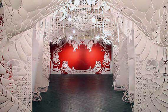 """""""The Ice Queen""""  Amazing paper cut installation  Caledonia Dance Curry the artist known as Swoon"""