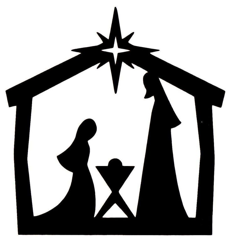 10 X CHRISTMAS DIE CUT NATIVITY SILHOUETTES IN BLACK