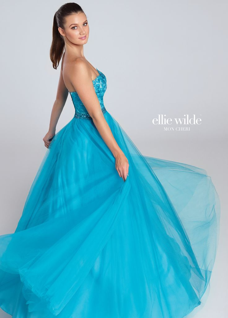 Ellie Wilde EW117058 - Strapless tulle ball gown with sweetheart neckline, floral embroidered appliquéd bodice, hand-beaded waistband. Removable straps included.