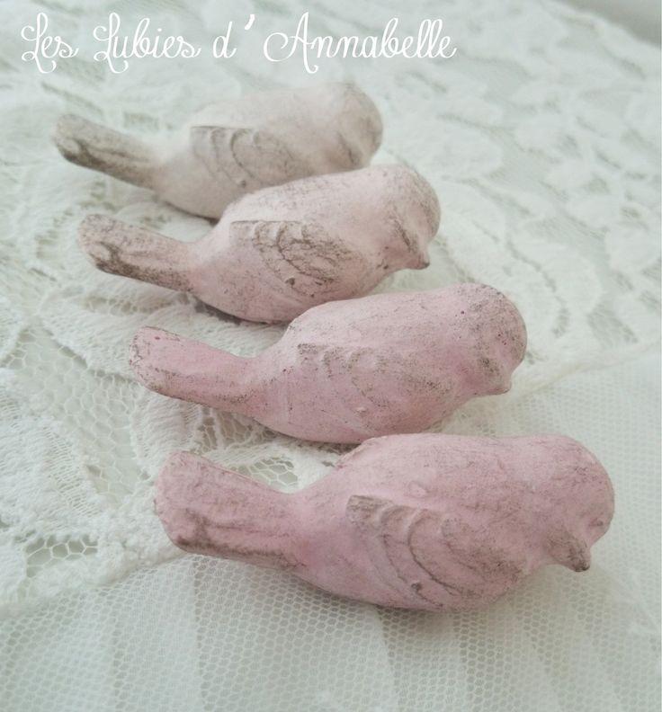 4 oiseaux en pl tre shabby chic poser accessoires de for Decoration par platre