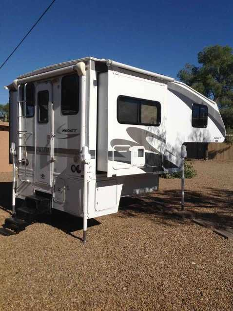 2009 Used Host Chinook 8.5 Truck Camper in Arizona AZ.Recreational Vehicle, rv, 2009 Host Chinook 8.5, Awesome slide in camper with two slides! This is a 2009 Host Chinook truck camper that Fits on a short bed truck! Not many do. This thing has all the bells and whistles. Everything is powered. Power Jacks for easy on/off truck operation. Both slides operate with the touch of a button. The slides have awnings and there is a power Awning off the rear of the camper. The roof has been…