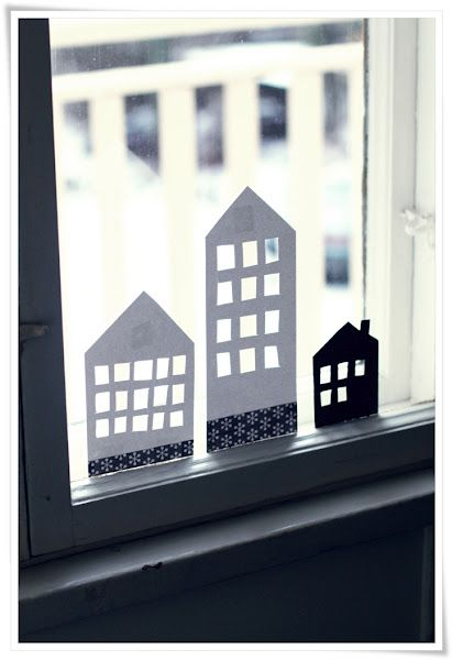 how adorable~Paper cutouts for the window