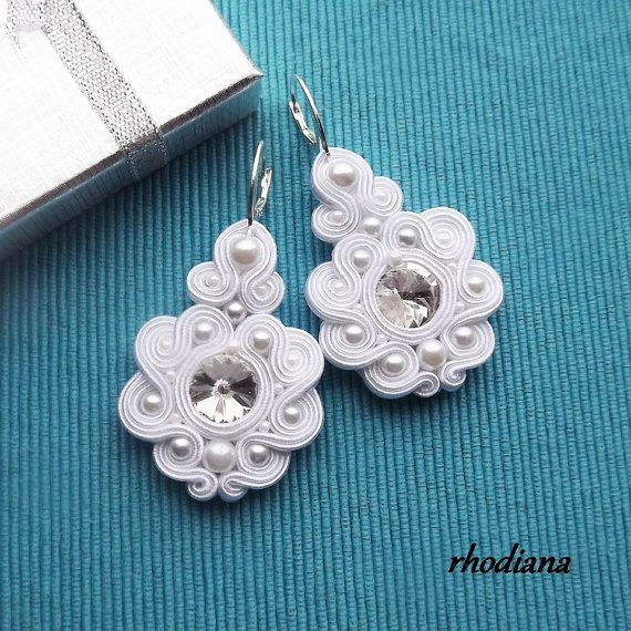 Rivoli White Soutache Earrings by RhodianaSoutache on Etsy