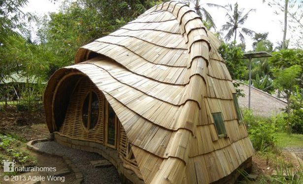 This is one of the tiny natural buildings at the Green School [more pictures and video here www.naturalhomes.org/greenschool.htm] in Bali, Indonesia. The school is home to some wonderfully organic shaped buildings all made from bamboo. This is one of their classroom pods