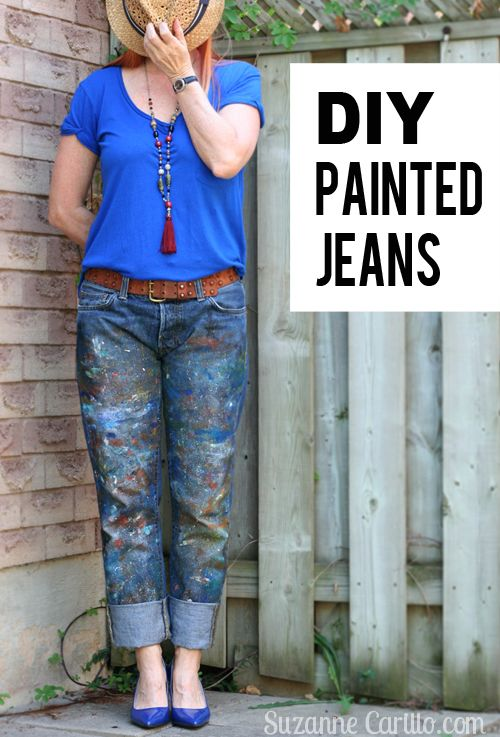 Do you like trendy painted jeans but don't want to pay big bucks to get them? Easy, quick DIY paint splatter jeans tutorial that anyone can create.