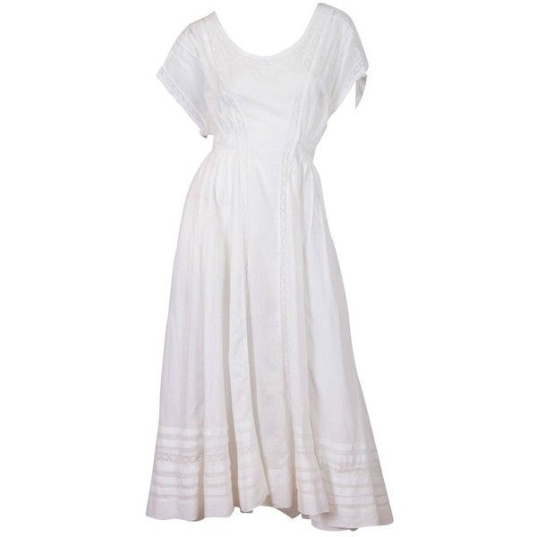Preowned Edwardian Cotton Batiste And Lace Dress ($950) ❤ liked on Polyvore featuring dresses, vintage, day dresses, grey, beach sundresses, cotton dress, cotton sun dresses, beach dresses and lace dress