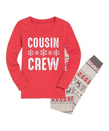 Look what I found on  zulily! Red   Gray Fair Isle  Cousin Crew  Pajama Set  - Kids  zulilyfinds 6ef87da09