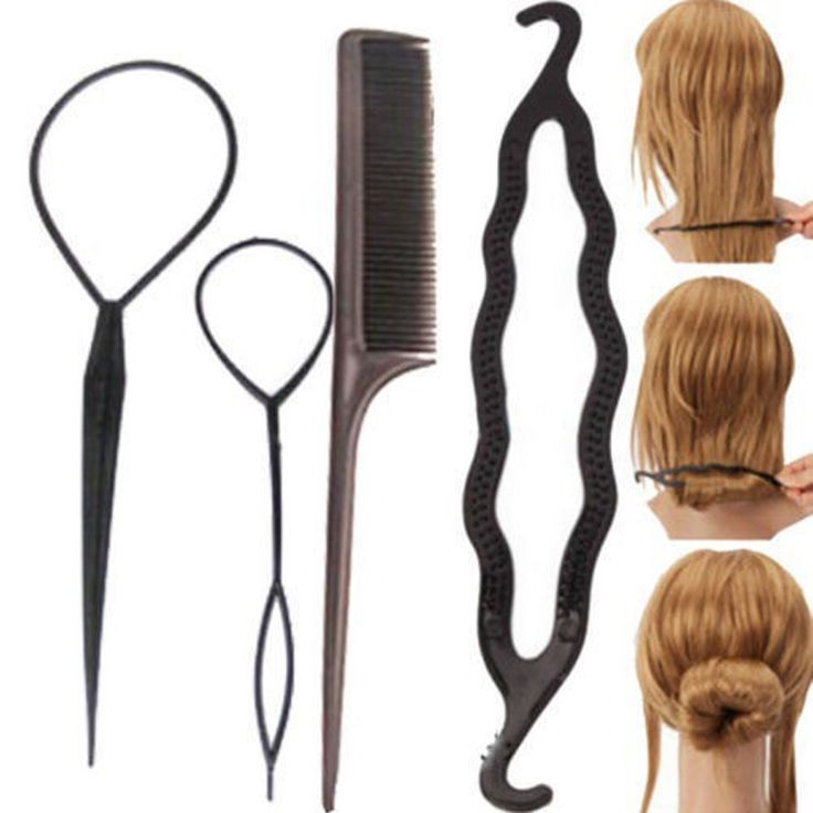 4Pcs/Set Hair Accessories Hairdressing Stylists Tool To Weave Braid Pull Hair Pins Plate Made Needle Hair Care Hair Styling Tool