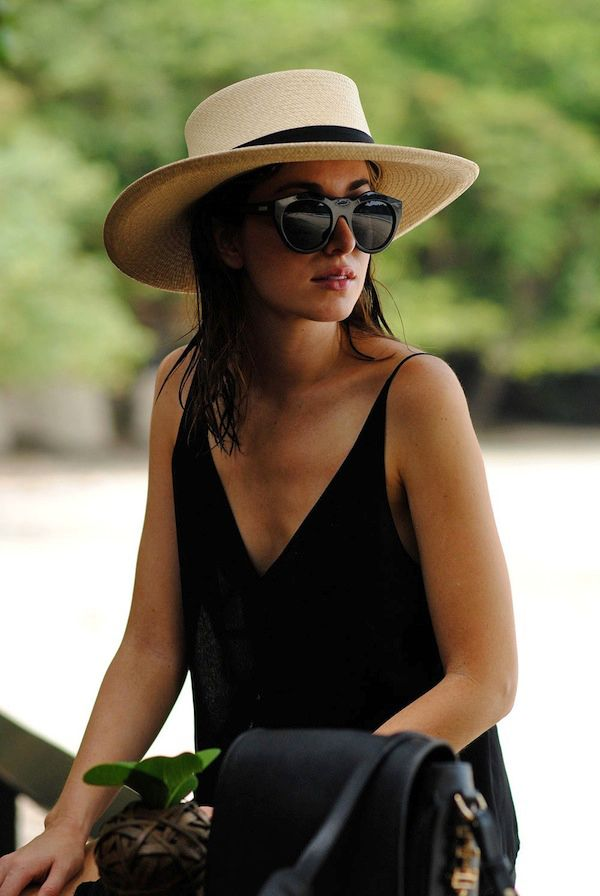 BEACH VACATION STYLE INSPIRATION hat black dress sand: