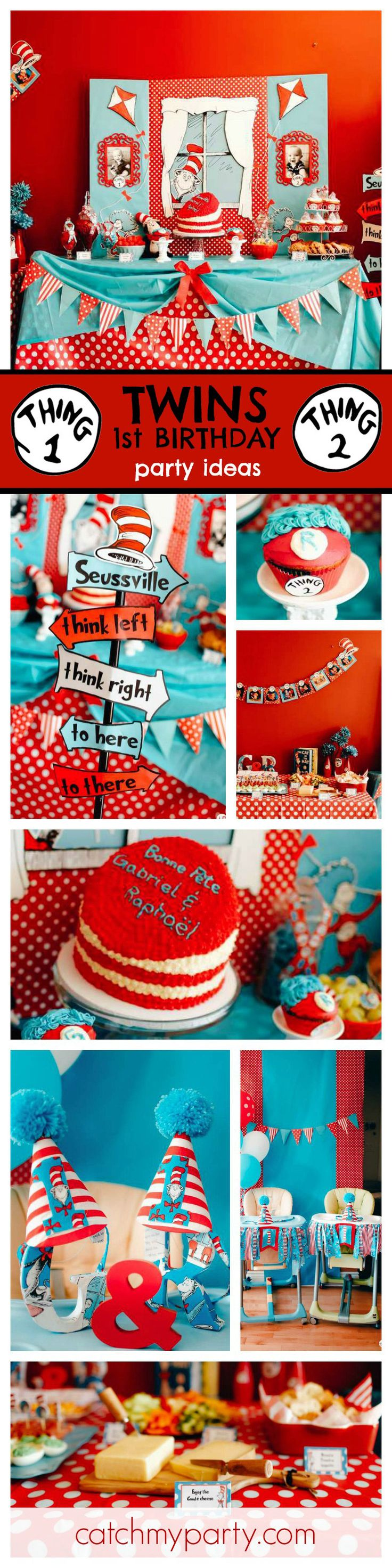 Loving this fun Cat in the Hat inspired Twin Birthday Party! The decorations and backdrop are just so awesome! See more party ideas at CatchMyParty.com
