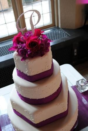 Violet Ribbon Wedding Cake by susanna