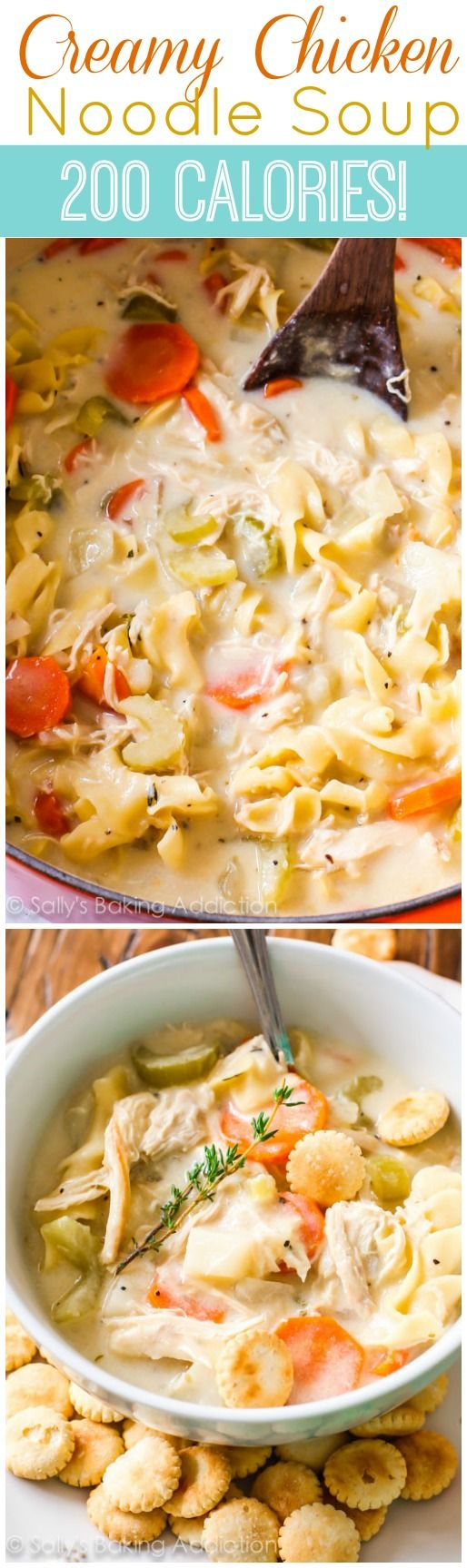 Lightened-Up Creamy Chicken Noodle Soup - my favorite! | sallysbakingaddiction.com | #soup #chickennoodle