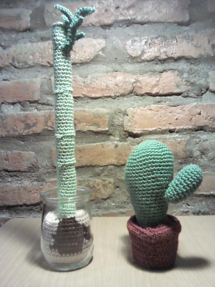 Falso bambú y cactus de #amigurimi en abejitas.org