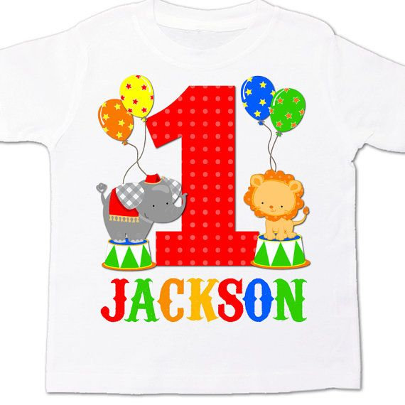 circus 1st birthday shirt PRIMARY COLORS - circus elephant lion theme birthday party shirt on Etsy, $16.50