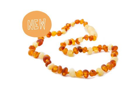LIMITED EDITION!!!!!!! Childrens Amber Teething Necklace - Raw Cognac and Butter Baroque – Amberocks Children's jewellery teething jewellery