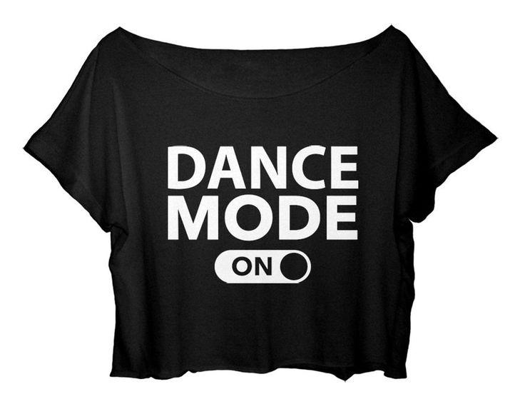 ASA Women's Crop Top Dance T-shirt Quote Dance Mode On Shirt Ballet One Size (White)